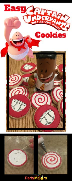 Make DIY Captain Underpants Cookies. Hypnotic Spiral Rings and Underwear. Fun party favors.