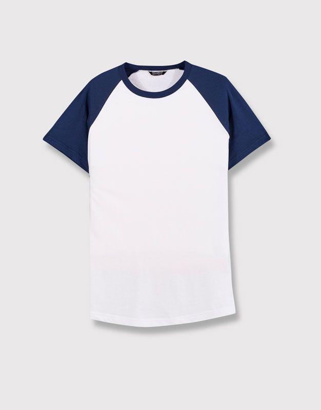 Pull&Bear - homem - vestuário - blusas - t-shirt estilo basebol - azulão - 05239547-I2016