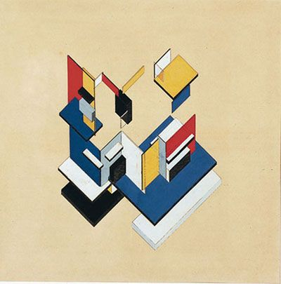 "Theo van Doesburg (Christian Emil Marie Küpper) and Cornelis van Eesteren.  Contra-Construction. Project, 1923. Axonometric: gouache on lithograph on paper,  22 1/2 x 22 1/2"" (57.2 x 57.2 cm). Gift of Edgar Kaufmann, Jr."
