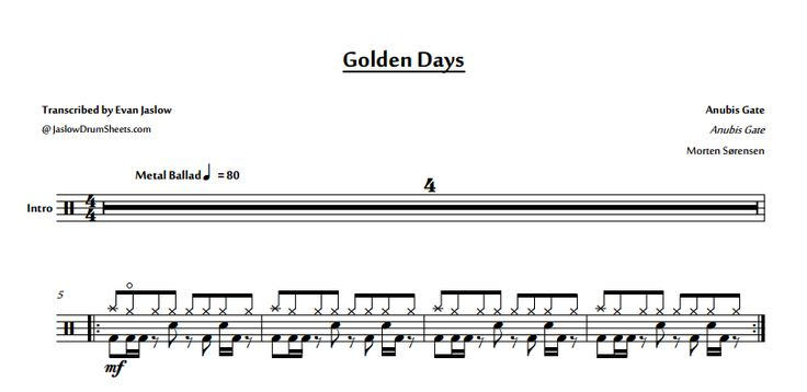 "Drum tab sheet music transcription for ""Golden Days"" by Anubis Gate. Taken from the 2011 album Anubis Gate. Notation key included. Progressive metal. Difficulty 3/5. #drums #drumsheetmusic #anubisgate"