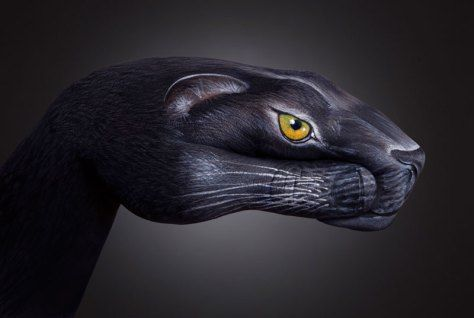 panther handpainting by guido daniele