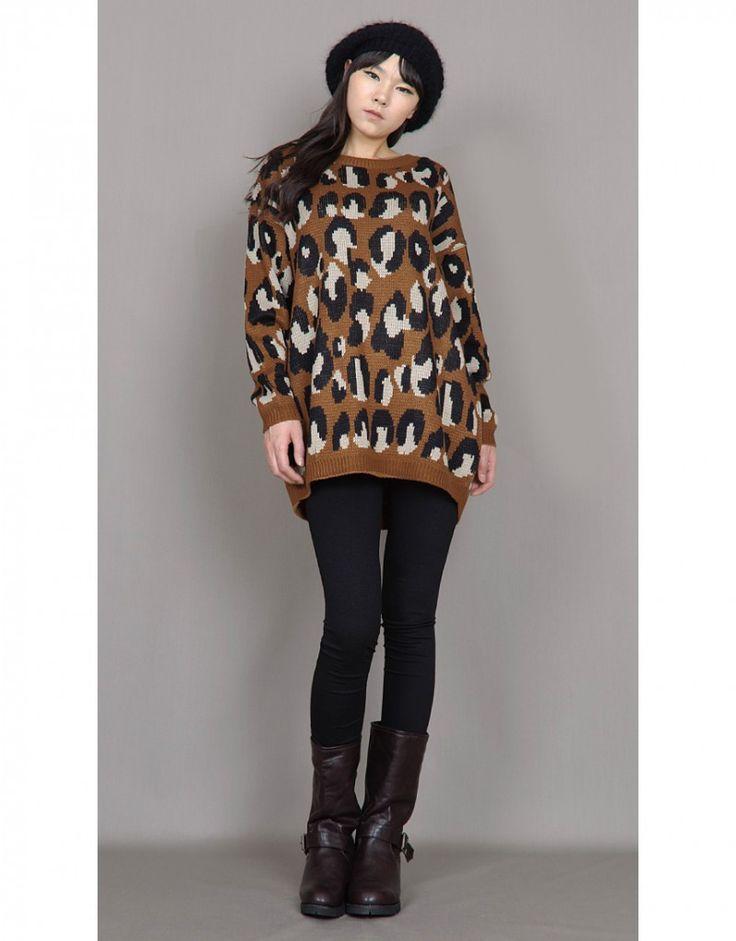 Womens Leopard Print Long Sleeve Boxy Sweater Jumper Brown