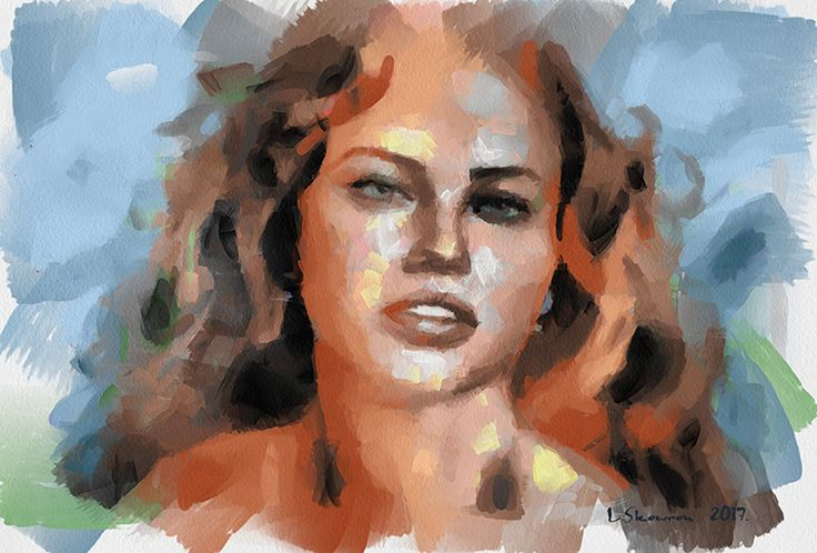 Adriana Lima 2017 Aquarell Modern style in portrait painting
