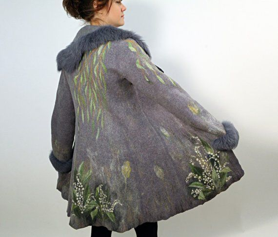 Hand felted merino wool coat LILY OF THE VALLEY from ChicComplement #etsy