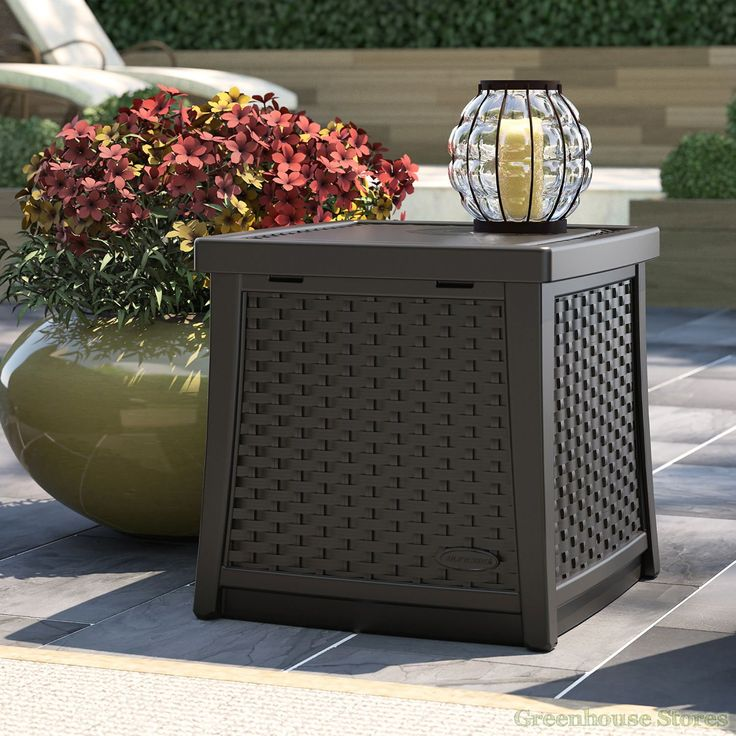 Suncast Side Table With Storage Box