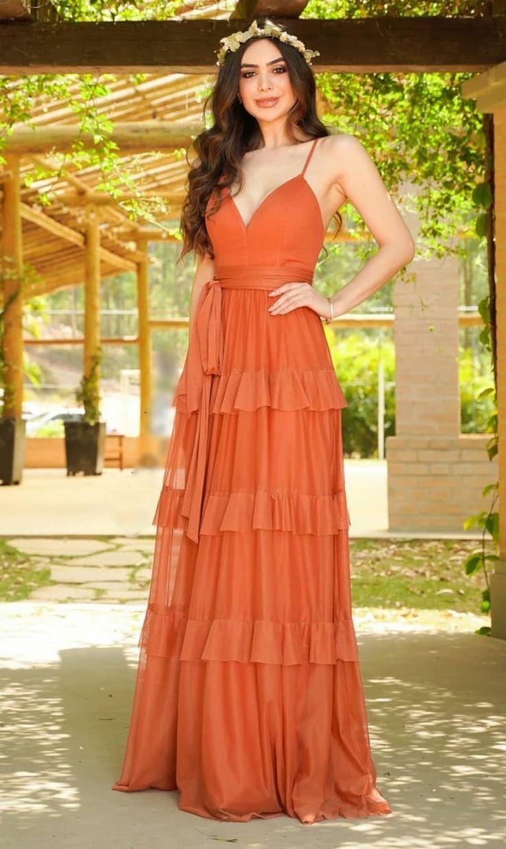 Vestido terracota: 45 modelos longos para casamento (madrinhas e convidadas) | Vestidos, Vestidos especiais, Vestidos exclusivos
