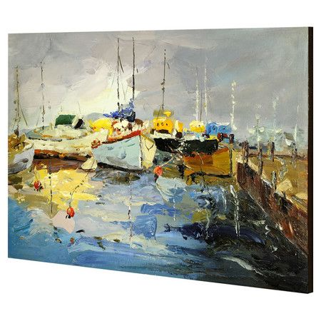 Re-fresh your neutral bedroom or living room walls with this painting-style wall art, featuring a quayside scene. Mount on wood panelled walls with white uph...