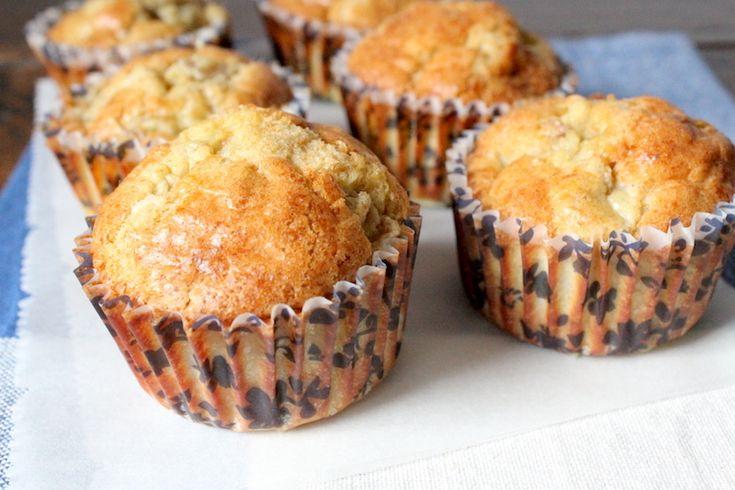 muffins zonder suiker, met peer en dadels Nodigvoor 7-8 stuks: Bereidingstijd: 40 minuten, waarvan 25 in de oven 3 eieren ±2-3 el kokosolie (40 ml) 60 gram volkoren speltmeel 1 tl bakpoeder 50 gram dadels, in stukjes gesneden (+ 2-3 extra) 1 rijpe peer, in stukjes gesneden
