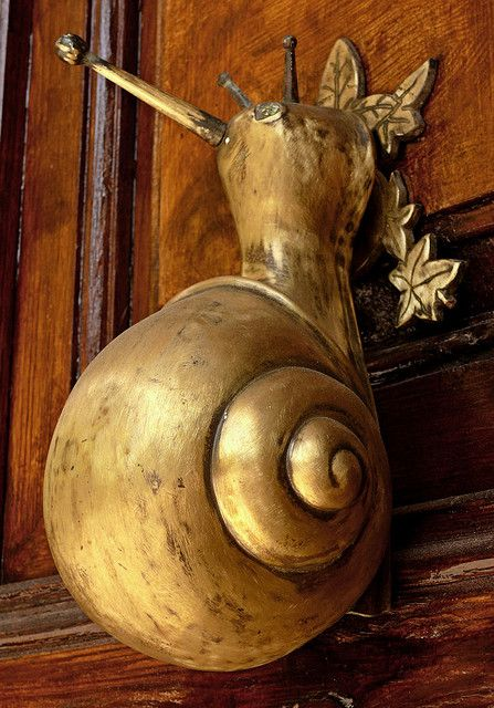"""Snail """"knocker"""", Barcelona. This is my favorite thing in the universe."""