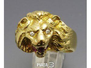 Vestimentatie, Bijuterii, accesorii, Inel vintage aur 18k cap leu cu diamante si rubin cu certificat, imaginea 1 din 3