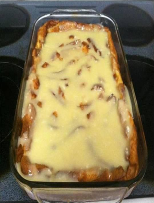 Bread Pudding w/Sauce 1st butter melted,3 eggs beaten,1tsp vanilla,1qt milk,2c sugar King's Hawaiian bread into pieces sauce: 6oz white chocolate,1 st butter 1/2 tsp vanilla,1 cp of powdered sugar Preheat oven to 350 Place bread in a 9x13 Pour melted butter,eggs,vanilla,whole milk,and sugar over bread. Bake at 350 for 50 mins. sauce: Melt white chocolate and 1 stick of butter in microwave. Add vanilla and powdered sugar.Drizzle sauce over top of pudding when you take it out.