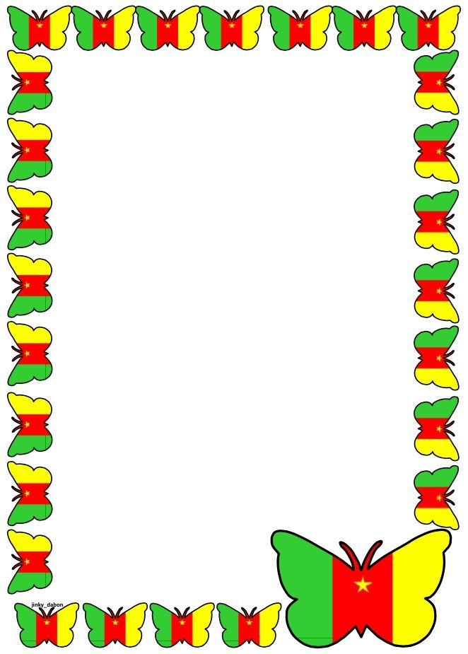 Cameroon Flag Themed Lined Paper and Pageborders Available for - lined page