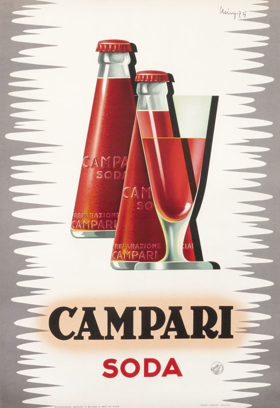 Design is fine. History is mine. Giovanni Mingozzi, artwork for Campari Soda poster, 1950. Italy. Via internationalposter