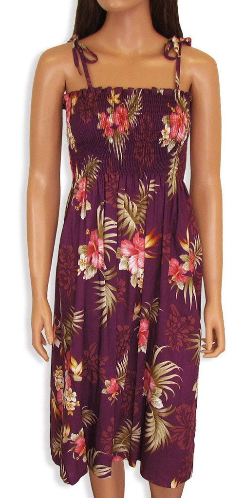 Purple Orchid Hibiscus Mid Length Tropical Hawaiin by FashNerds