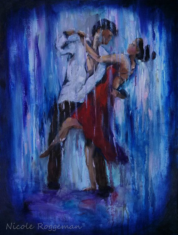 Dancin in the rain, romantic art, dancing couple, red ...
