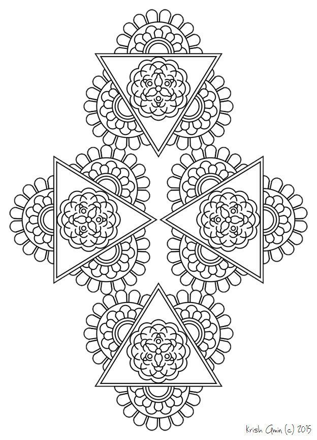 Afdrukbare ingewikkelde Mandala kleurplaten, Instant ...