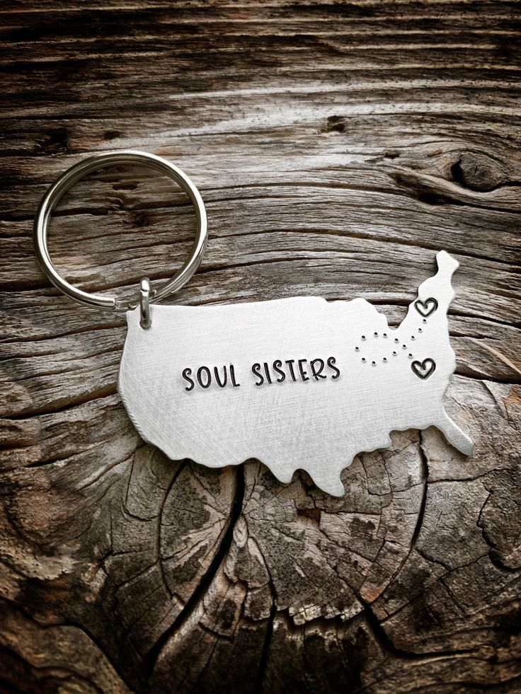 Soul Sisters Gift, Long Distance Gift Long Distance Friendship Gift Best Friends Gift State Keychain Going Away Gift BFF Gift Sisters Gift by TheLonel…