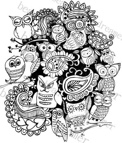 paisley owls 85 x 11 instant download coloring page  coloring pages color instant download