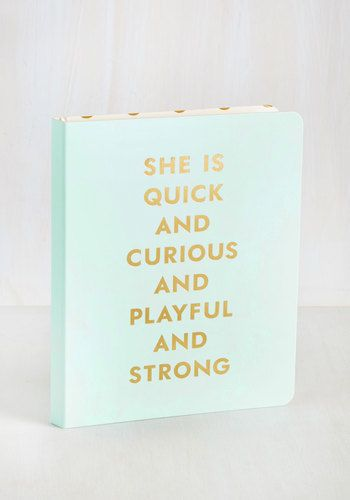 This hardback notebook by kate spade new york does the job of counting your successful qualities so that you can write with confidence! Open the light blue, gold-foiled cover of this office accessory to find a playfully polka-dotted interior and a series of lined pages that await your inspiring ideas.