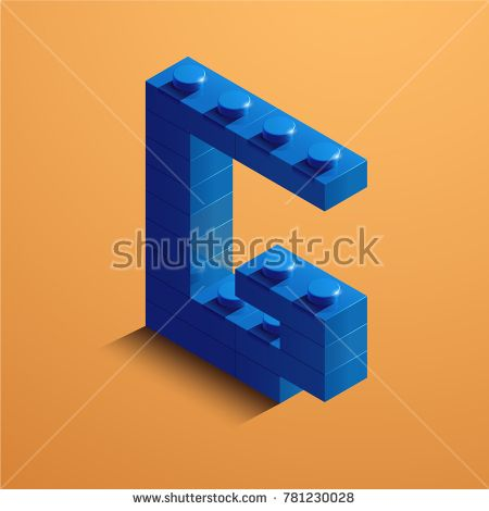 3d isometric letter G of the alphabet from lego bricks. 3d isometric plastic letter from the  legoblocks