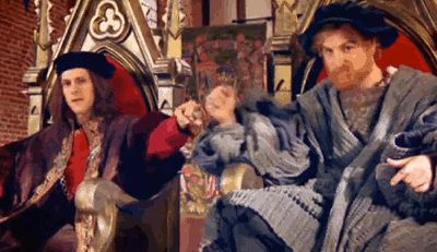 king henry viii fist-bumping his dad, king henry vii    horrible histories