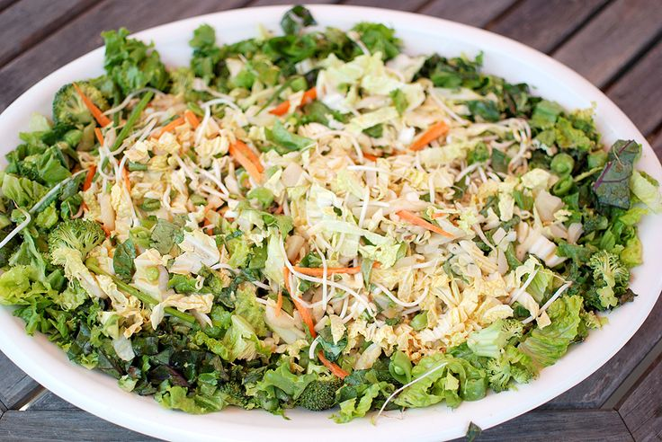 for the salad: 1 head white cabbage, shredded 1 head Romaine lettuce, chopped roughly into small pieces 1/2 head of brocolli, cut into small pieces Large handful of snap peas, chopped into small pieces 1 carrot, grated Large handful of bean sprouts Sesame seeds to sprinkle on the finished salad   for the dressing: Juice of …