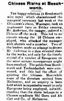 1903 description of a fight involving the Chinese in Beechworth