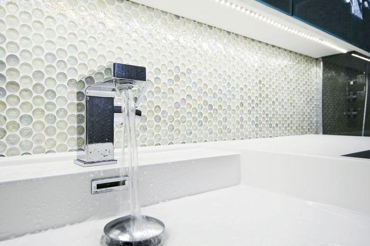 Ronde glas mozaïek tegels - badkamer