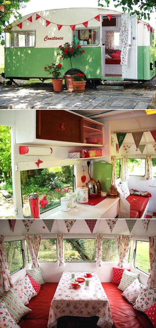 This vintage camper looks just about perfect - love the exterior and interior!