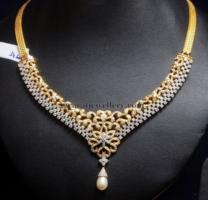 Indian Jewellery Designs: 34 Grams Unique Diamond Set