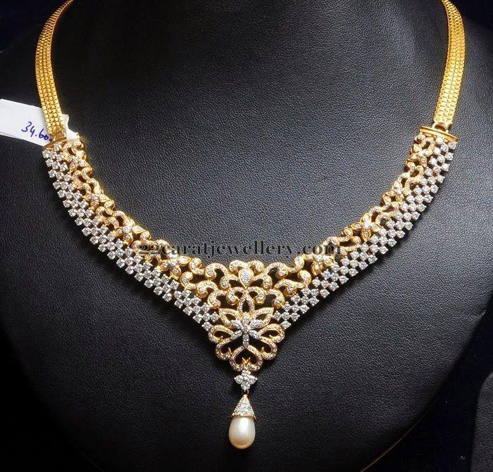 Indian Jewellery Designs: 34 Grams Unique Diamond Set
