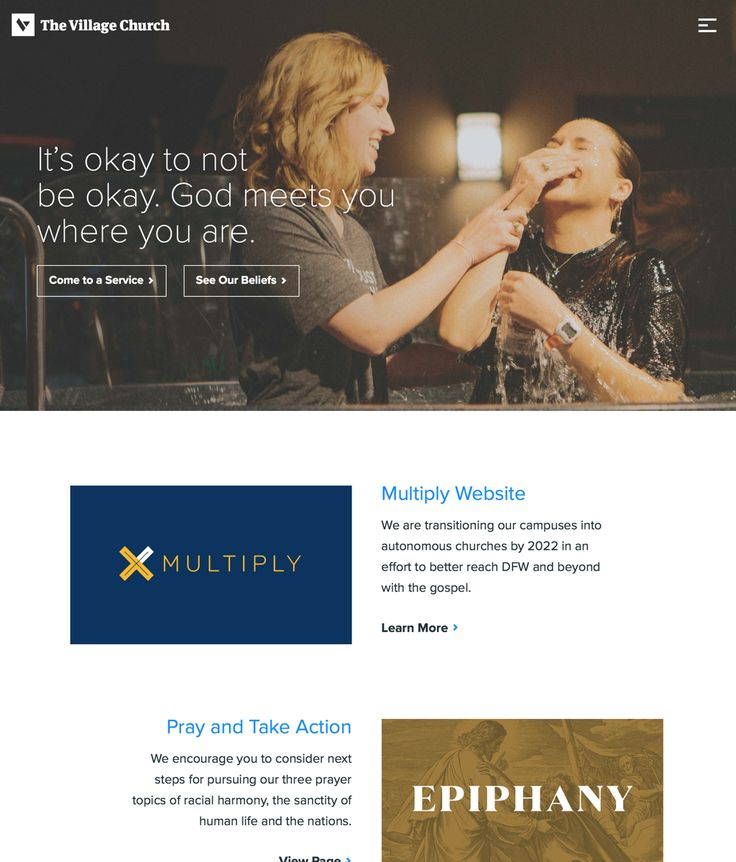 What I like about this #church website is the nice big hero image and the great headline. It's so inviting. #blue #gold