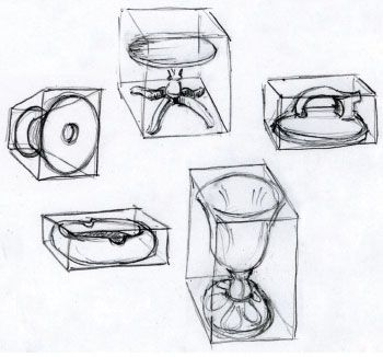 Round objects can be put into boxes, which is very helpful to remember as you practice drawing circles, spheres, and cones. | www.drawing-made-easy.com | #box #drawing