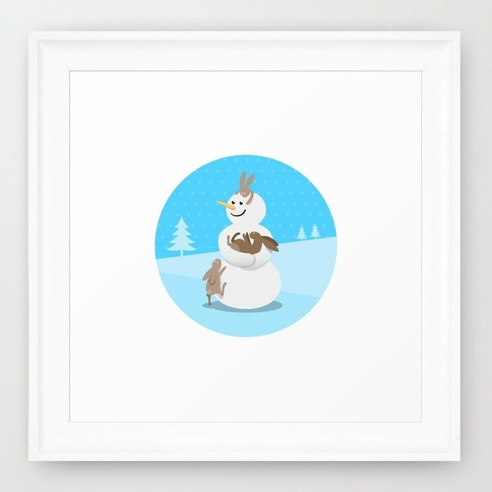 Snowman's Best Friends Framed Art Print