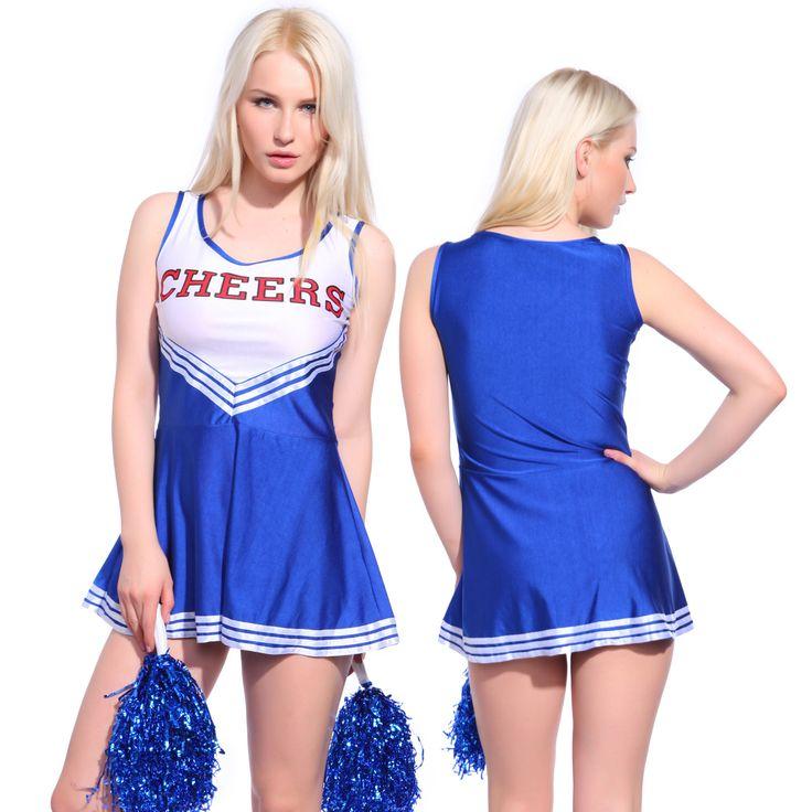 Ladies High School Girl Cheerleader Uniform Glee Cheerleading Costume w/ Pompoms in Clothing, Shoes, Accessories, Costumes, Women's Costumes | eBay