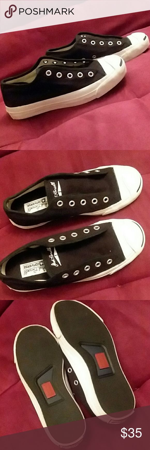 Brand new Jack Purcells by Converse Brand new, no laces! Sorry. Black canvas white rubber. Shoes Sneakers
