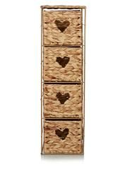 George Home Woven Heart 4 Drawer Storage Unit