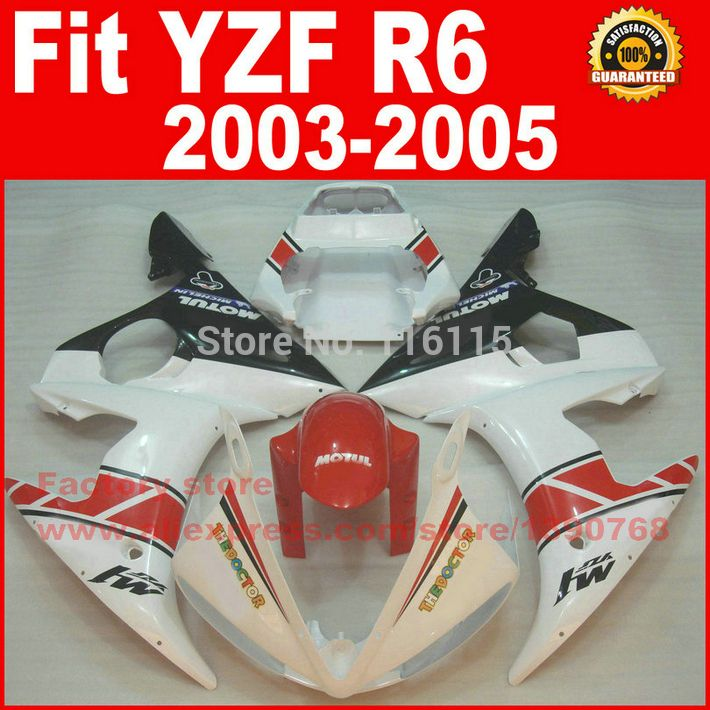 New Hot Moto parts for YAMAHA R6 fairing kit 2003 2004 2005 red white body kit fairings 03 04 05 YZF-R6 BH56 #Affiliate