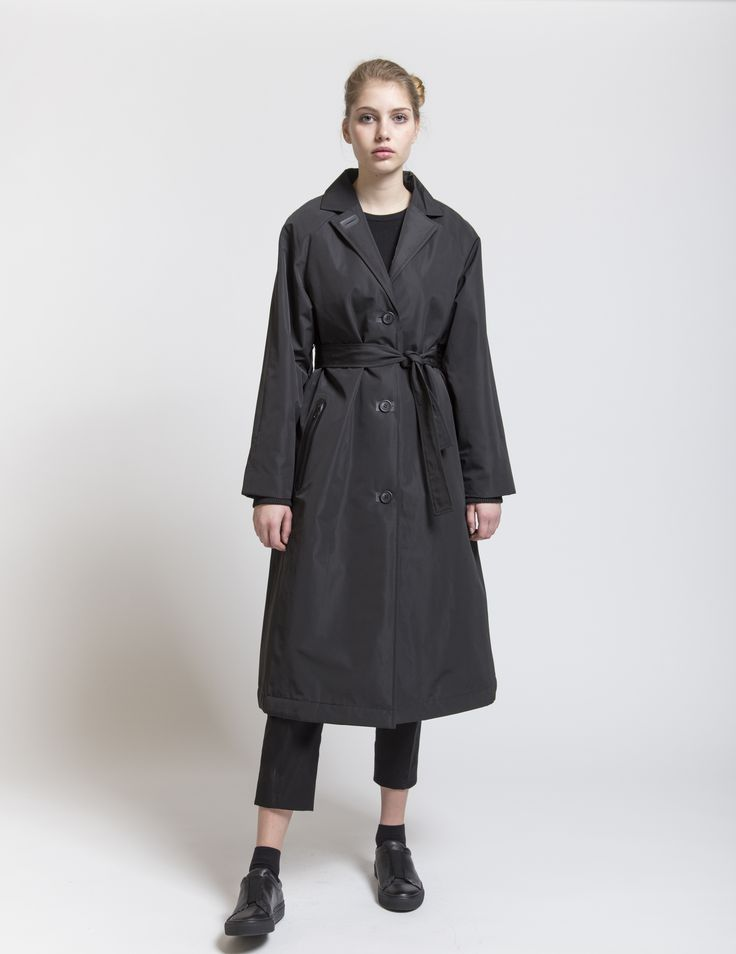 Selfhood - womensfashion outfit. Polyester jacket long with taped zip pockets.