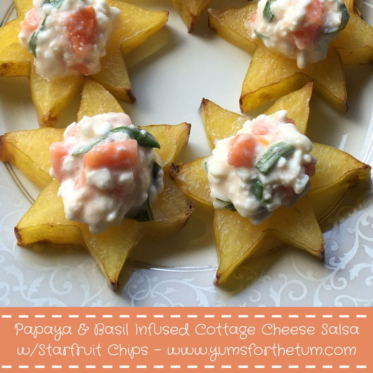 Papaya & Basil Infused Cottage Cheese Salsa with Starfruit Chips - A bright, tropical flavored Low FODMAP snack full of IBS and GERD/Reflux friendly (and helpful) ingredients that will make you feel like you're sitting on the island of Hawaii. Well ok, maybe not, but it does taste tropical and is an excellent summer snack! ‪