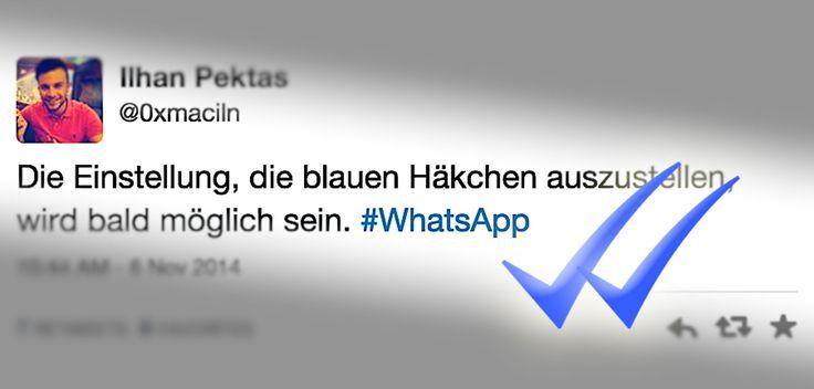 WhatsApp Update kommt: Blauer Haken ausschalten (Lesebestätigung)! - https://apfeleimer.de/2014/11/whatsapp-update-kommt-blauer-haken-ausschalten-lesebestaetigung - WhatsApp blauer Haken ausschalten bzw. deaktivieren? Ein kommendes WhatsApp Update soll eine Option mitbringen um den blauen WhatsApp Haken wieder auszuschalten. Noch warten aber die WhatsApp iPhone Nutzer auf das lange angekündigte iPhone 6 (Plus) Update für WhatsApp, wann also der blaue Haken m...