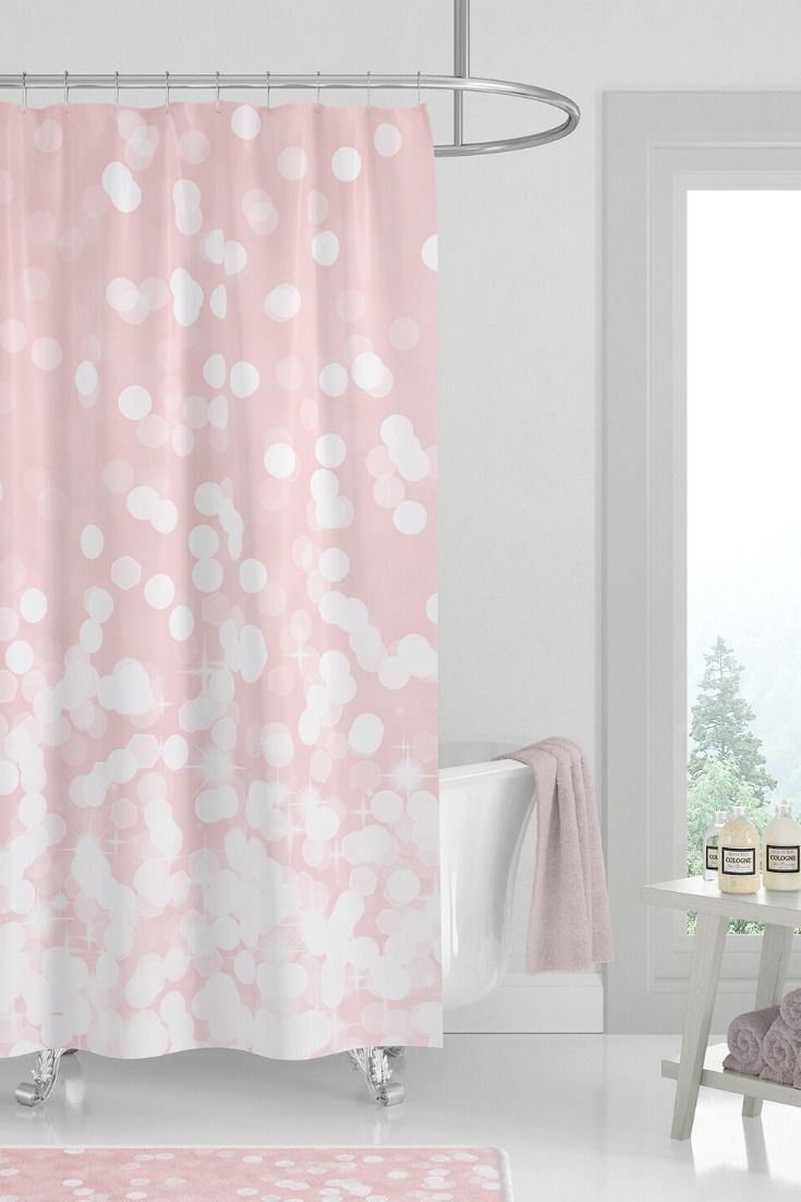 Cute Shower Curtain Set For Girls Pink Bathroom Decor With