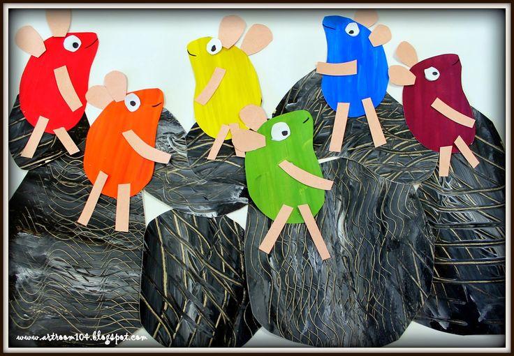 Trabajo de arte, collage, colores primarios y secundarios en base al cuento Frederick. MB!