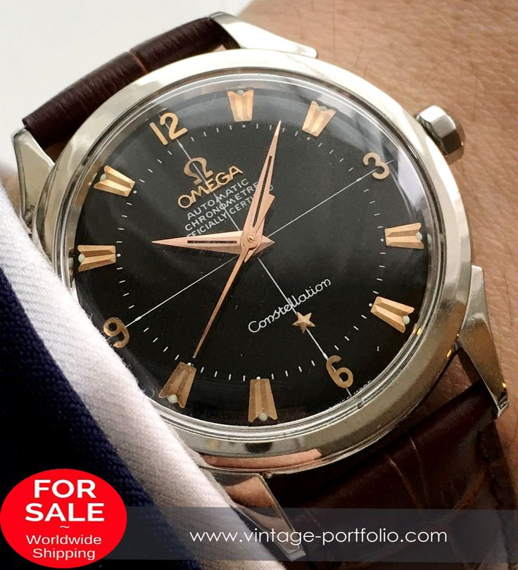 Amazing Omega Constellation Automatic black dial pink gold indizes vintage  #constellation 	 #omegaconstellation #militarywatches