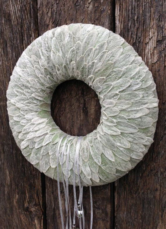 Winter Wreath  -  Christmas wreath - Candle Ring - Centerpiece - Christmas decoration - grey, gray - Lamb's ear