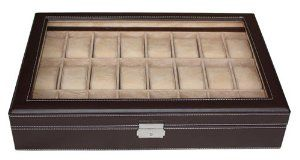 """24 Piece Chocolate Brown Leatherette Watch Display Case and Storage Organizer Box TimelyBuys. $59.99. Unique, one-level design offers maximum clearance for large watches. Case measures 11.25"""" L x 17"""" W x 3"""" H; Each compartment measures 45 mm in width (3.25"""" L x 1.75"""" W). Detailed contrast stitching and attractive faux suede lining add a luxury feel; Also available in cherry and ebony wood tones. Secure your collection with our elegant lock and key; Rich chocolat..."""