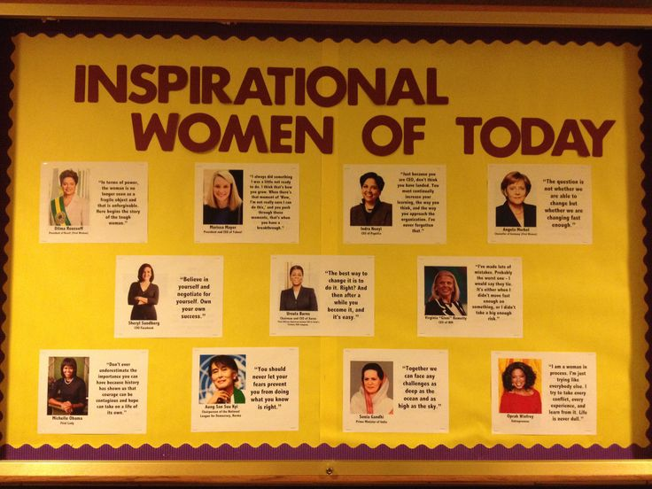 Inspirational Women of Today - Women's History Month educational bulletin board for the month of March