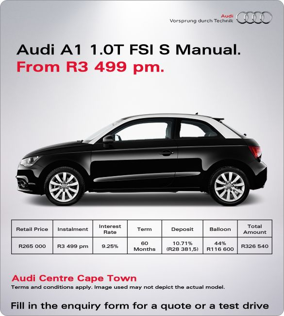 Buy A New Audi A1 1.0T Manual From R3 499 Pm. Retail Price