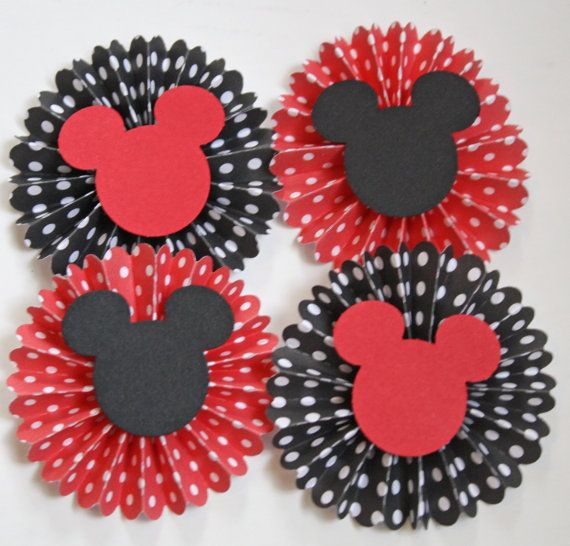 Mickey Minnie Mouse Inspired Rosettes Black by MousePartyHouse, $2.95