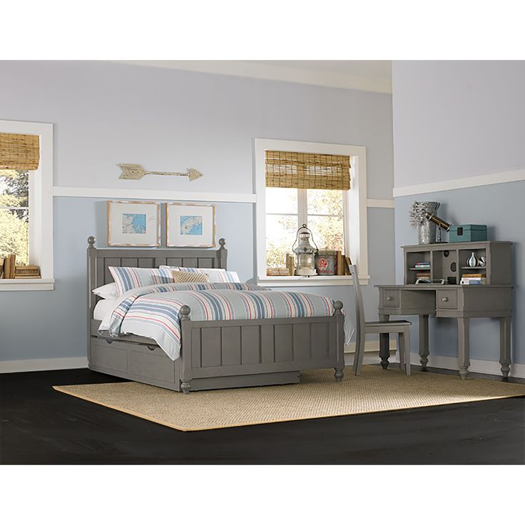 NE Kids Lake House Kennedy Stone Grey Full Bed with Trundle (Kennedy Full Bed with Trundle - Stone)